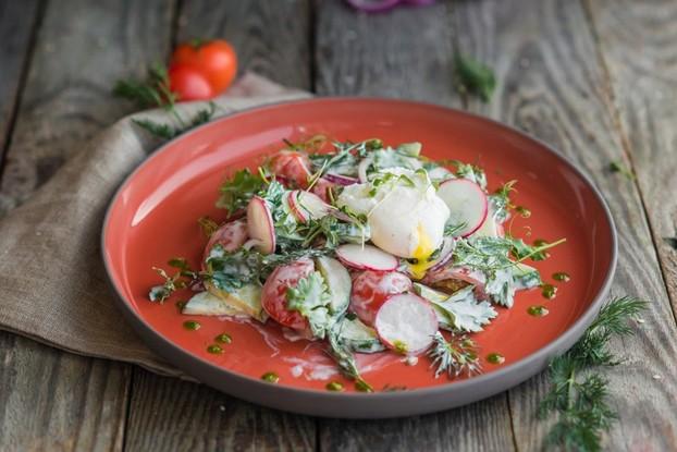 Ресторан «Парк», Санкт-Петербург: Салат из сезонных овощей с яйцом пашот